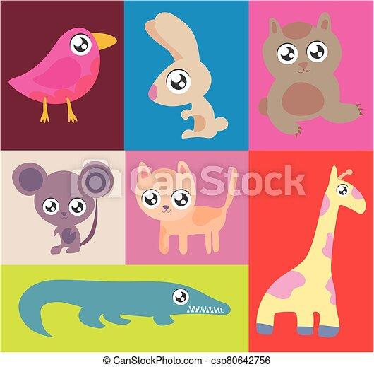 set of animals in kawaii style - csp80642756