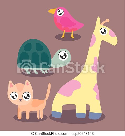 set of animals in kawaii style - csp80643143