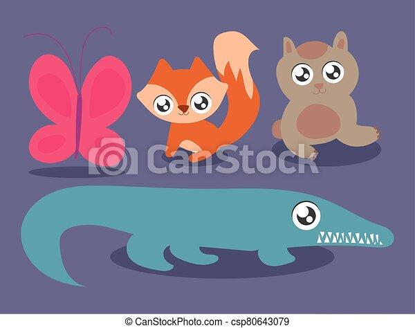 set of animals in kawaii style - csp80643079