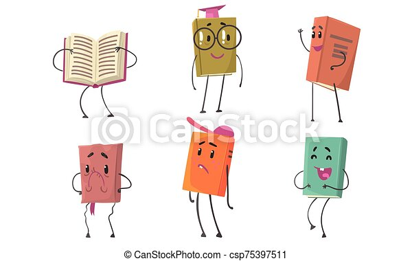 Set Of Animated Books In Colorful Covers Vector Illustration Cartoon Character - csp75397511
