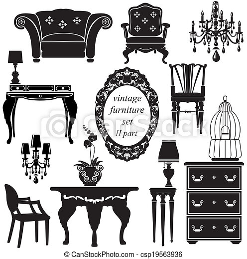 Set of antique furniture - isolated black silhouettes - csp19563936 - Set Of Antique Furniture - Isolated Black Silhouettes.