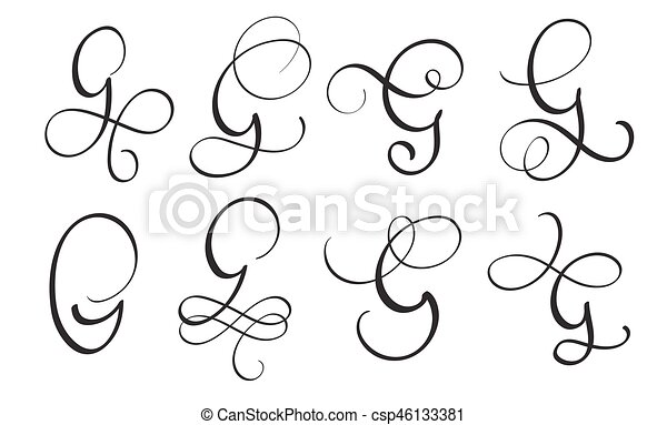 Set Of Art Calligraphy Letter G With Flourish Vintage Decorative Whorls Vector Illustration Eps10