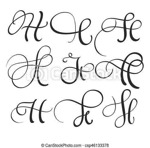 Set Of Art Calligraphy Letter H With Flourish Vintage Decorative Whorls Vector Illustration Eps10