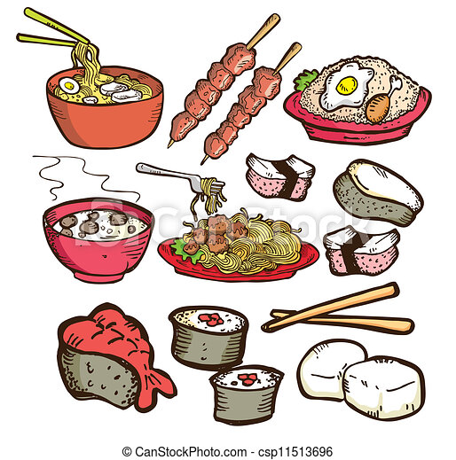Set of asian food doodle.