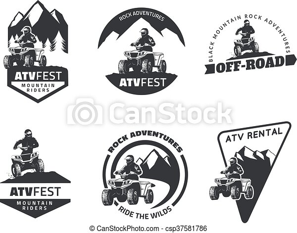 Set of ATV emblems, badges and icons. All-terrain vehicle off-road design elements. - csp37581786