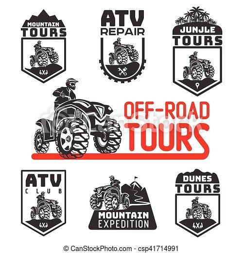 Set of ATV vehicle logo and emblems. All-terrain 4x4 quad illustration. - csp41714991