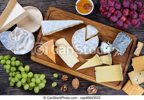 set of authentic french Cheeses, top view - csp46943033