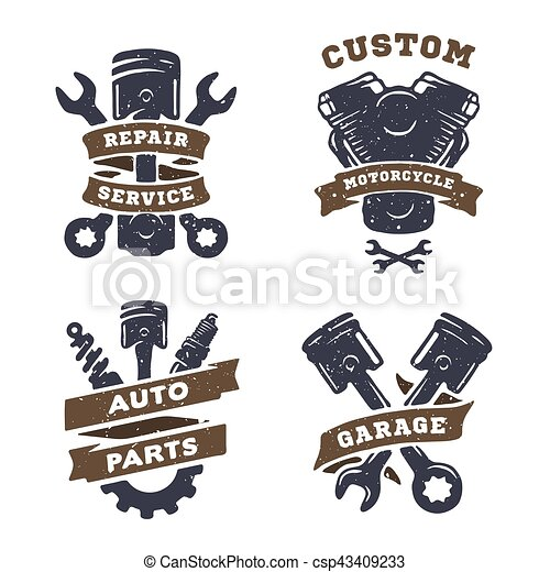 Set of auto logos garage service spare parts set of for Auto p garage roussillon