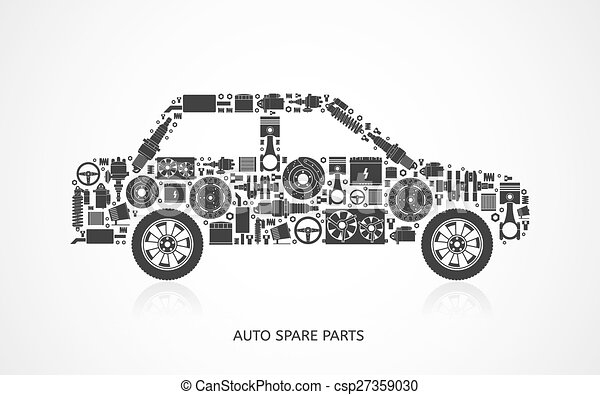 Set of auto spare parts. car repair icons in flat style. vector ...