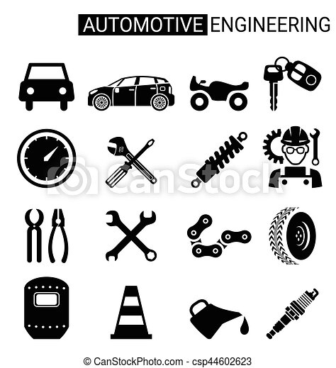 set of automotive engineering icon design for industry set of