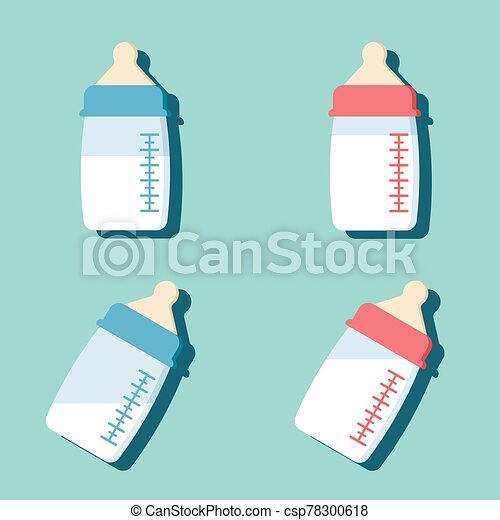 Set of baby bottle with milk in flat cartoon style. - csp78300618