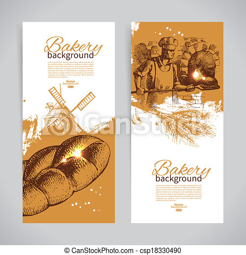 Set of bakery sketch banners. Vintage hand drawn illustrations - csp18330490