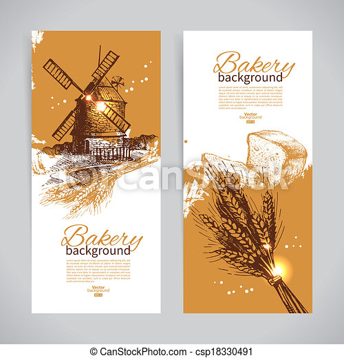 Set of bakery sketch banners. Vintage hand drawn illustrations - csp18330491
