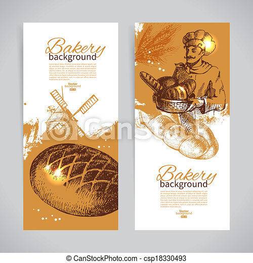 Set of bakery sketch banners. Vintage hand drawn illustrations - csp18330493