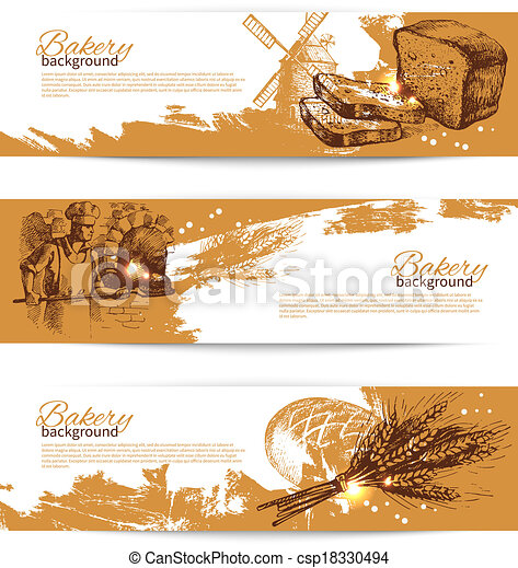 Set of bakery sketch banners. Vintage hand drawn illustrations - csp18330494