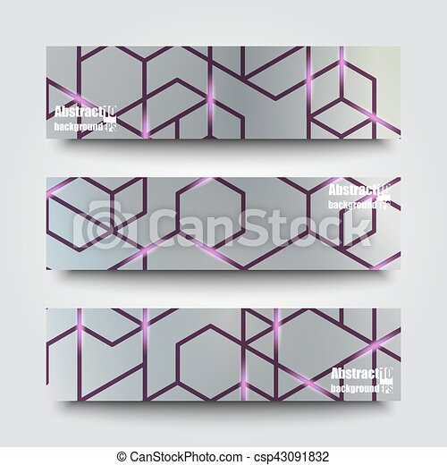 Set of banner templates with abstract background. Eps10 Vector illustration - csp43091832