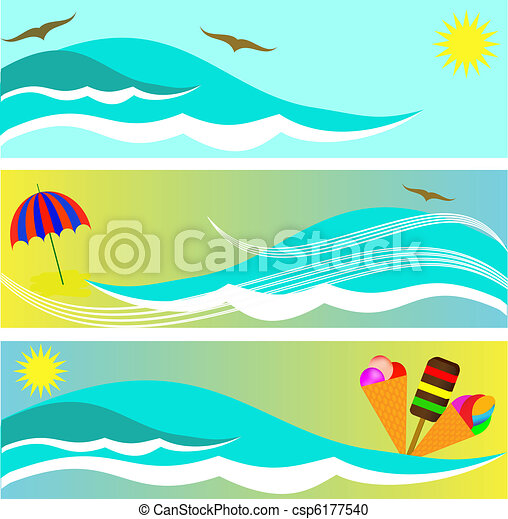 Set of banners on summer subjects, ice-cream, an umbrella