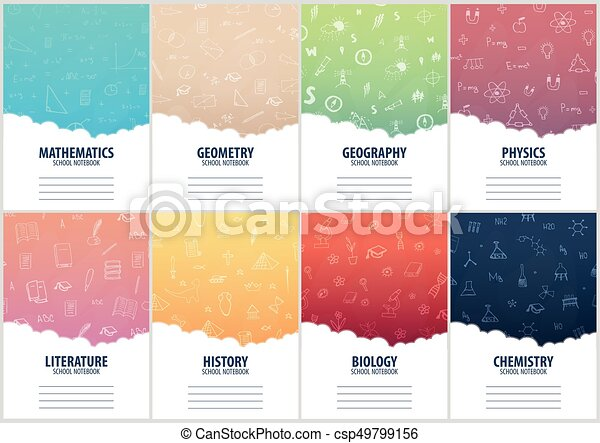 Set of banners school notebook template. Back to School background. Education banner. - csp49799156