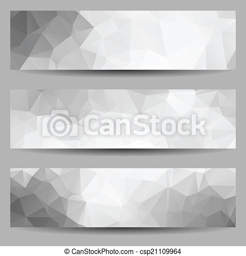 Set of banners with abstract triangles - csp21109964