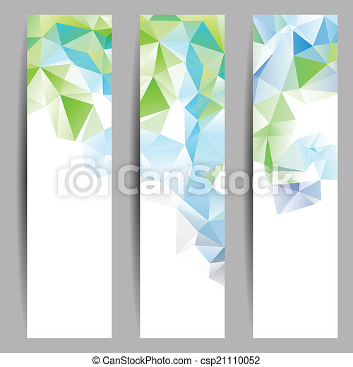 Set of banners with abstract triangles - csp21110052