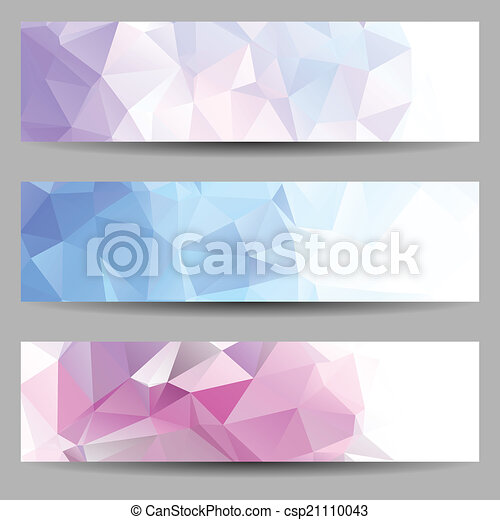 Set of banners with abstract triangles - csp21110043