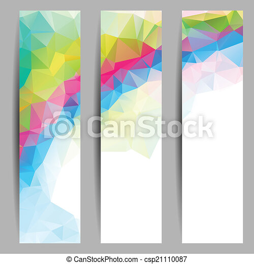 Set of banners with abstract triangles - csp21110087