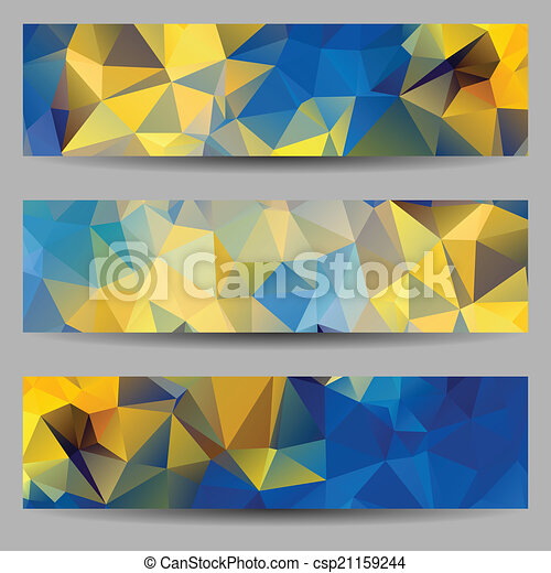 Set of banners with abstract triangles - csp21159244