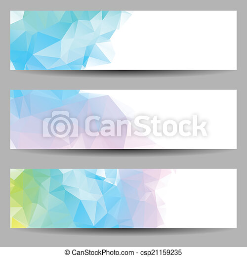 Set of banners with abstract triangles - csp21159235