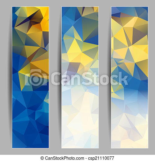 Set of banners with abstract triangles - csp21110077