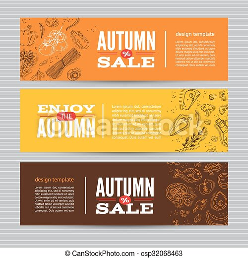Set of banners with organic vegetables. - csp32068463