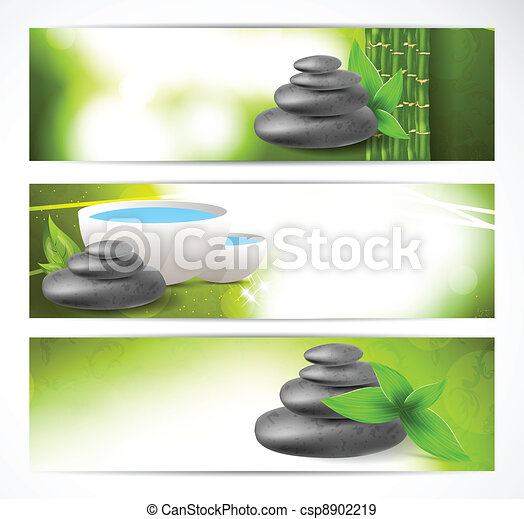 Set of banners with stones and leaves - csp8902219