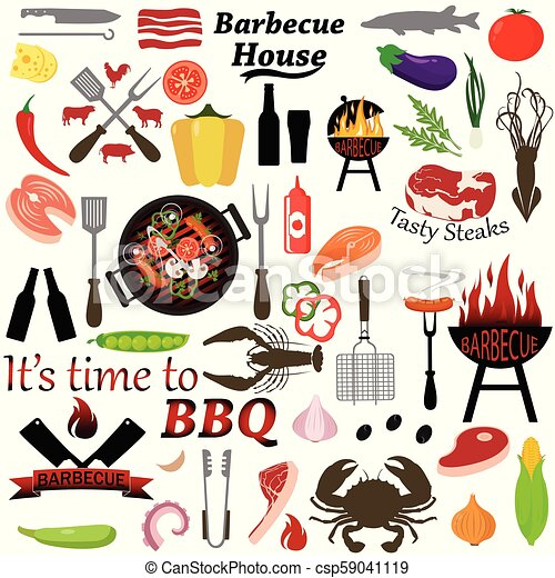 Set of barbecue and grilled food: steak, sausage, seafood and vegetables. - csp59041119