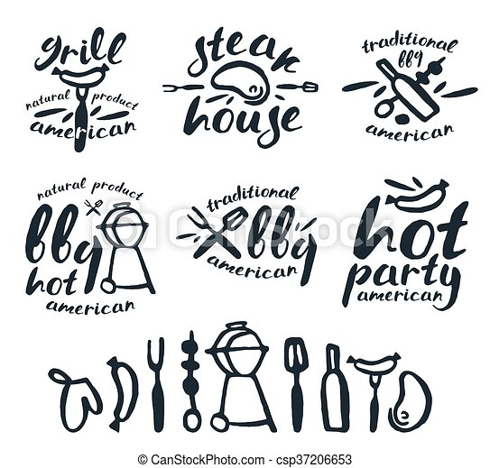 Set of barbecue labels, badges, and design elements - csp37206653
