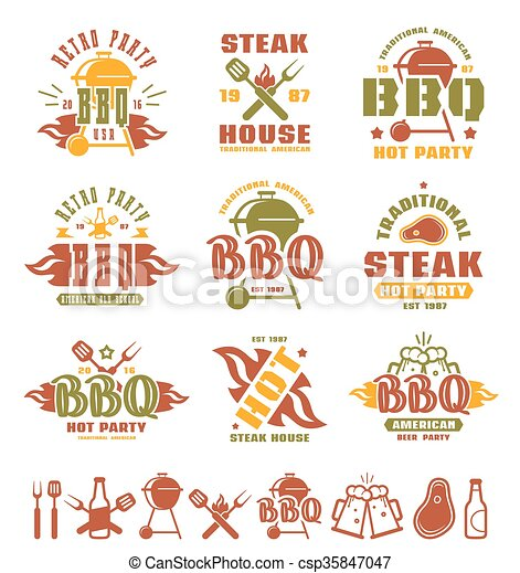 Set of barbecue labels, badges, and design elements - csp35847047