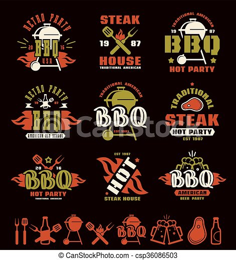 Set of barbecue labels, badges, and design elements - csp36086503