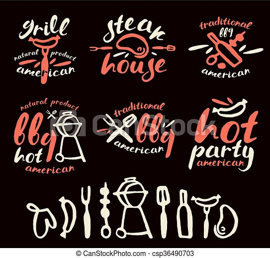 Set of barbecue labels, badges, and design elements - csp36490703