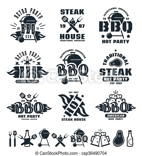 Set of barbecue labels, badges, and design elements - csp36490704
