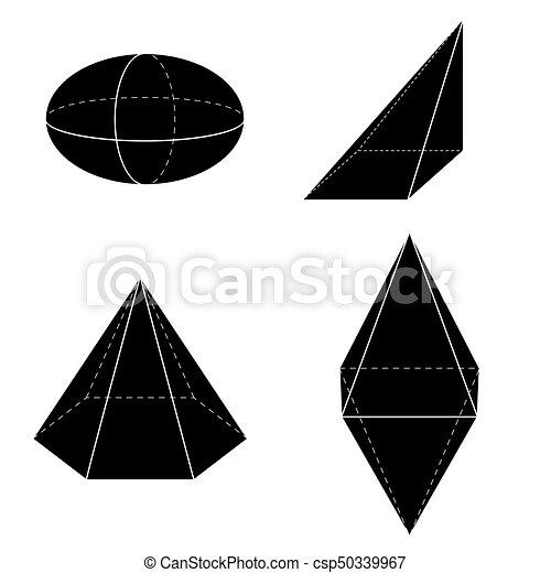 Set of basic 3d geometric shapes. geometric solids vector ...