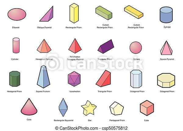 set of Basic 3d geometric shapes  Geometric solids vector isolated on a  white background