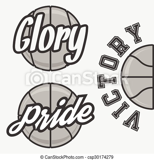 set of basketball team logos with ball design elements for your