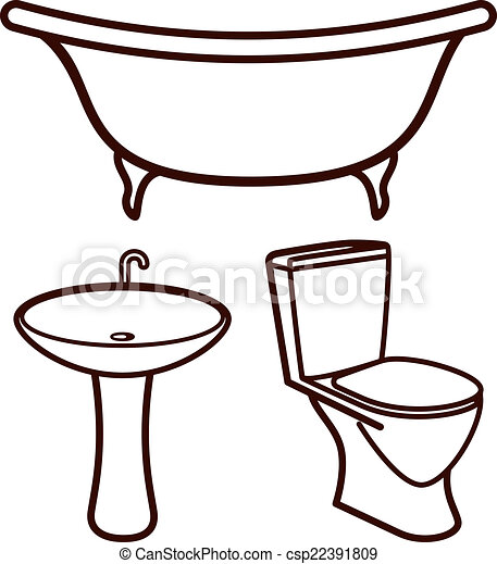 Set Of Bathroom Elements Magnificent Bathroom Clipart Set