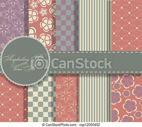 set of beaautiful vector paper for scrapbook - csp12050452