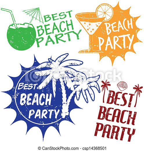 set of beach party stamps set of beach party grunge rubber stamps rh canstockphoto com Pool Party Clip Art summer beach party clipart