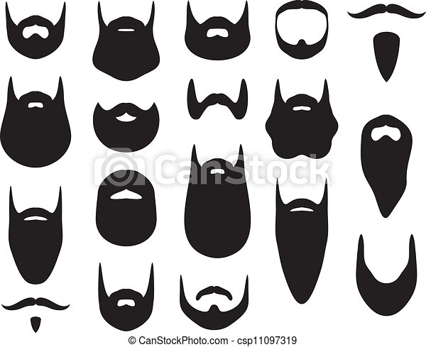 Set of beard silhouettes - csp11097319