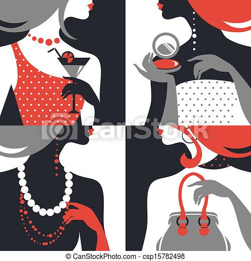 Set of beautiful fashion woman silhouettes. Flat design - csp15782498