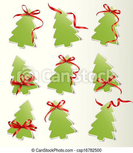 Set of beautiful gift cards with red gift bows with ribbons Vector - csp16782500