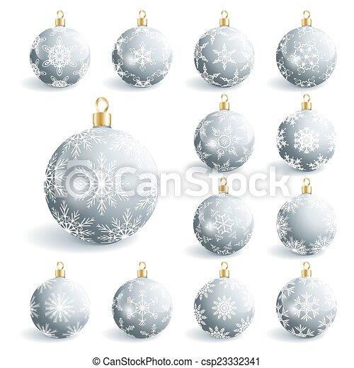 set of beautiful grey christmas balls csp23332341 - Glass Christmas Balls