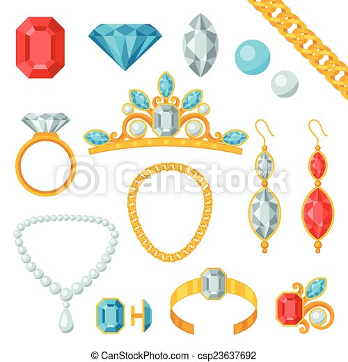 Set of beautiful jewelry and precious stones. - csp23637692