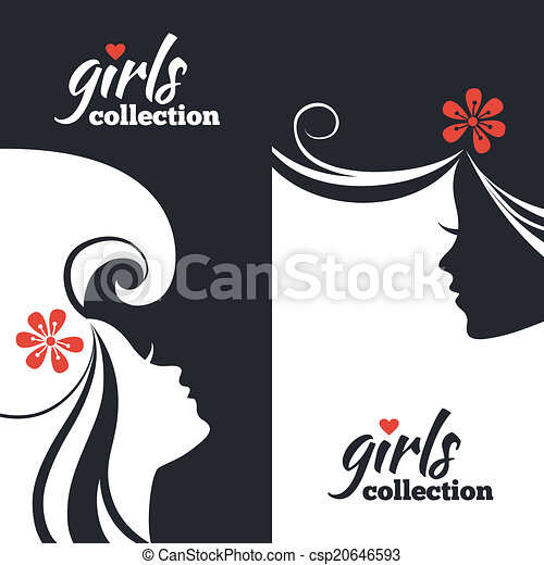 Set of beautiful women silhouettes. Girls collection banners - csp20646593