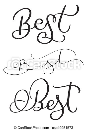 Set Of Best Word On White Background Hand Drawn Calligraphy Lettering Vector Illustration Eps10